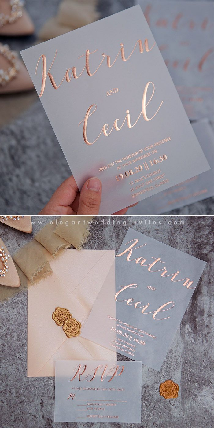 Rose Coloured Glasses Rose Gold Foil on Vellum Paper Invitation EWFI028