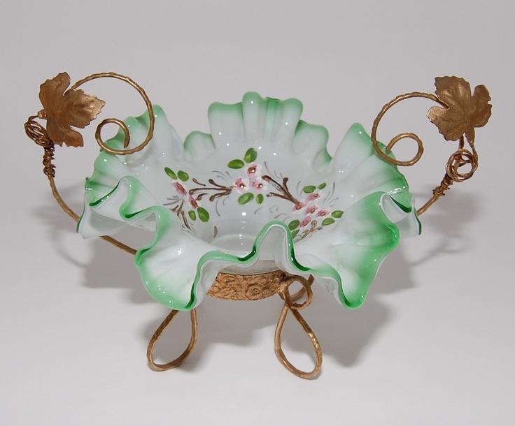 Brides Basket, Victorian Era Green Cased Glass Ormolu , circa 1800