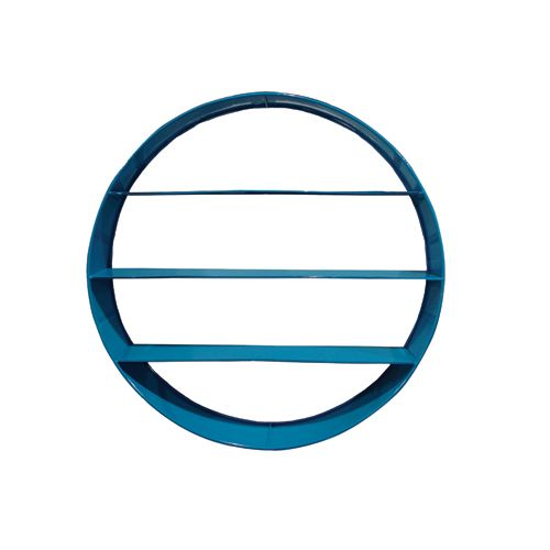 Add some style and functional storage to any room with this gorgeous and unique blue circle metal shelf by Rawspace!  Made from metal and powder coated in blue this shelf is the perfect storage solution for any room of the house - from kids rooms to the family room.    Size: 45CM Wide  Colour: Blue