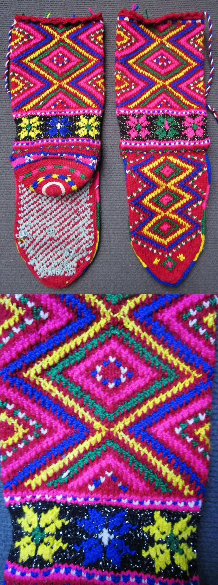 Traditional hand-knitted bridal stockings.   From Pomak immigrants, settled in the Biga district (Çanakkale province).  1950-1975.  Wool & metallic thread.  The pattern shows several diamond-shaped 'ayna' (mirror), which is an amulet against the evil eye.  (Inv.nr. çor012 - Kavak Costume Collection - Antwerpen/Belgium).