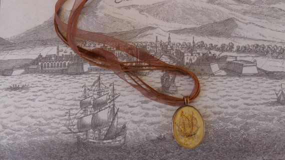 Old sailing ship pendant.Oval bronze pendant by ArtisticBreaths