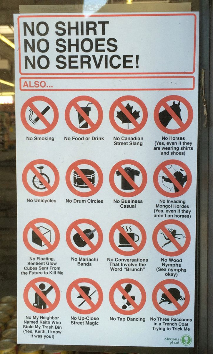 Obvious Plant Leaves Sign on Drugstore Listing Silly Things You Are Not Allowed to Do