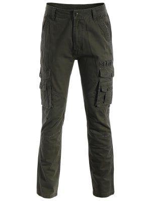 Pantalones De Los Bolsillos De La Aleta - Verde Del Ejército Xl