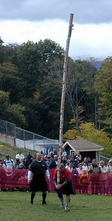 Caber Toss. An event in the Scottish Highland Games. That pole normally weighs about 175 lbs, or so they say. Think about that. Me? I'll stick with the 12 oz curls.