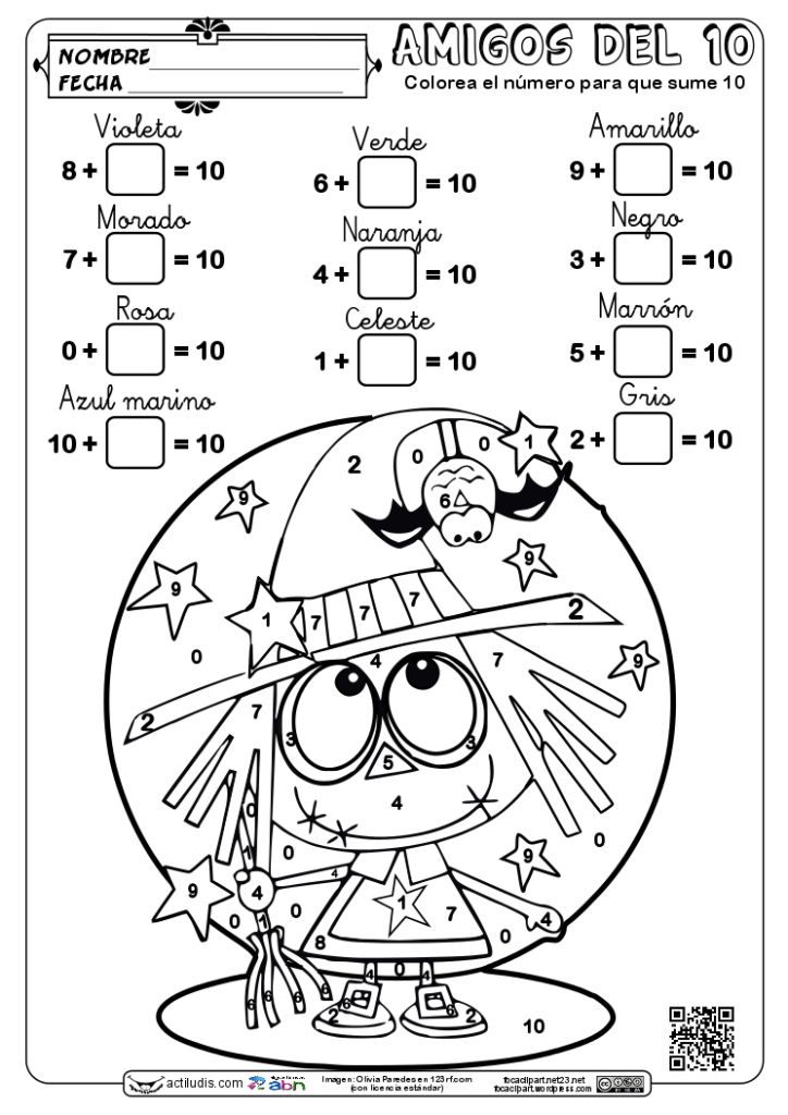 Con la misma temática de colorear una pequeña brujita para halloween, he creado 4 fichas de distinta dificultad (Las he diferenciado por colores para localizar mejor) para poder trabajar el cálculo graduándolo para todos los niveles de Primaria. Las dejo en castellano e inglés, para el algoritmo ABN y tradicional …