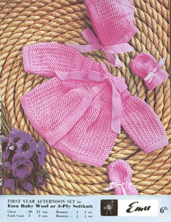 PDF Vintage Baby Girl PINK Pretty Pussy Bow Pram Set Knitting