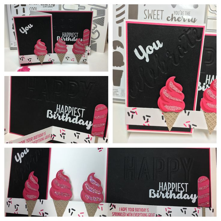Stampin' Up! Cool Treats stamp set featured in the 2017 Occasions Catalog. Frozen treats Framelit Dies, whisper white heat embossing powder, melon mambo and basic black ink pads, Celebrations Duo Embossing Folder.