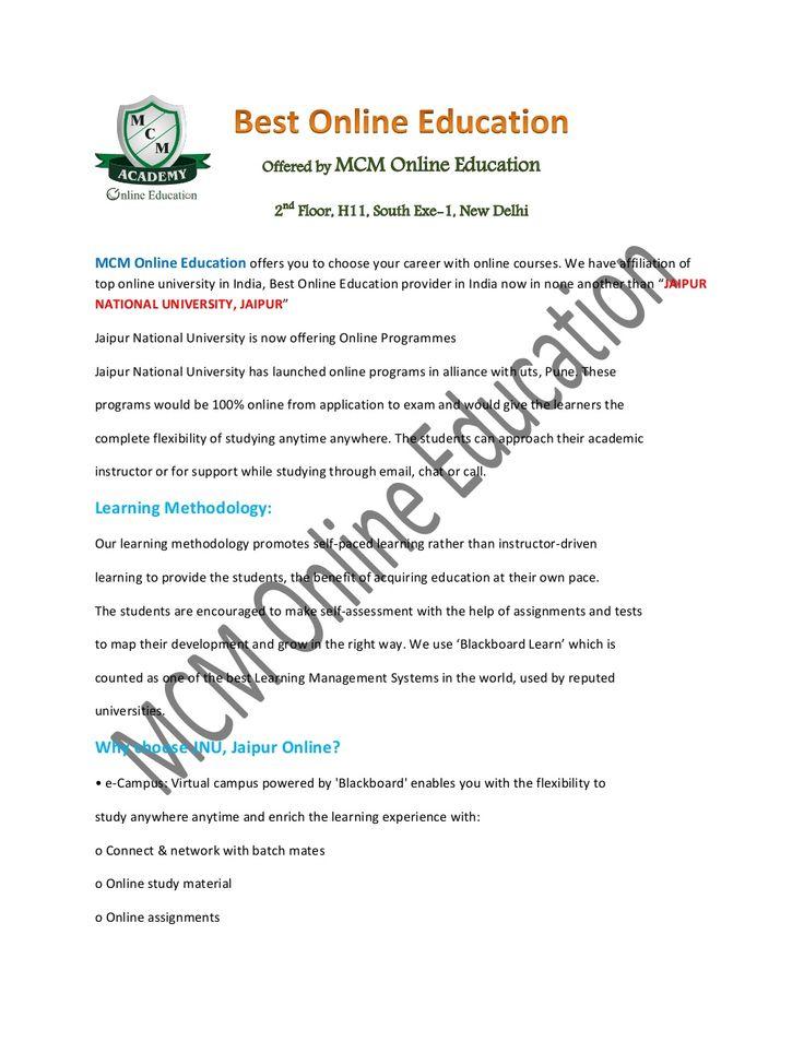 jaipur National University Online   Online JNU by MCM Online Education via slideshare