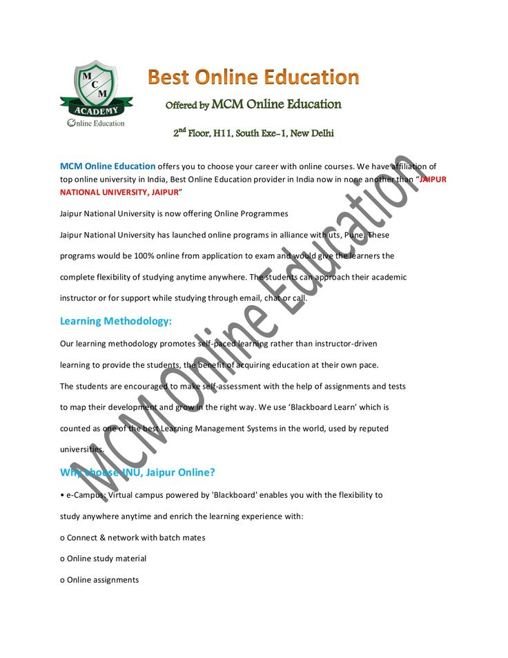 jaipur National University Online | Online JNU by MCM Online Education via slideshare