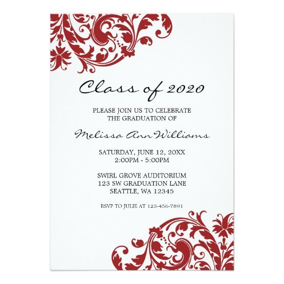 Invite guests in style with this marsala and black swirl graduation invite. An elegant red swirl decoration is featured on this cheap graduation announcement.