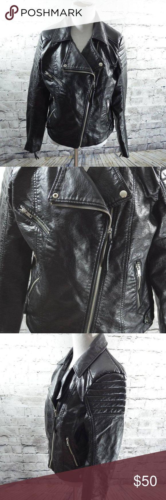 H&M Black Vegan Leather Moto Biker Jacket 12 Moto biker