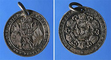 Federation Medal 1901 inscribed 'The Australian Commonwealth, one nation, one people, one destiny'. 280mm diameter, (Nat.Library of Australia, Canberra)