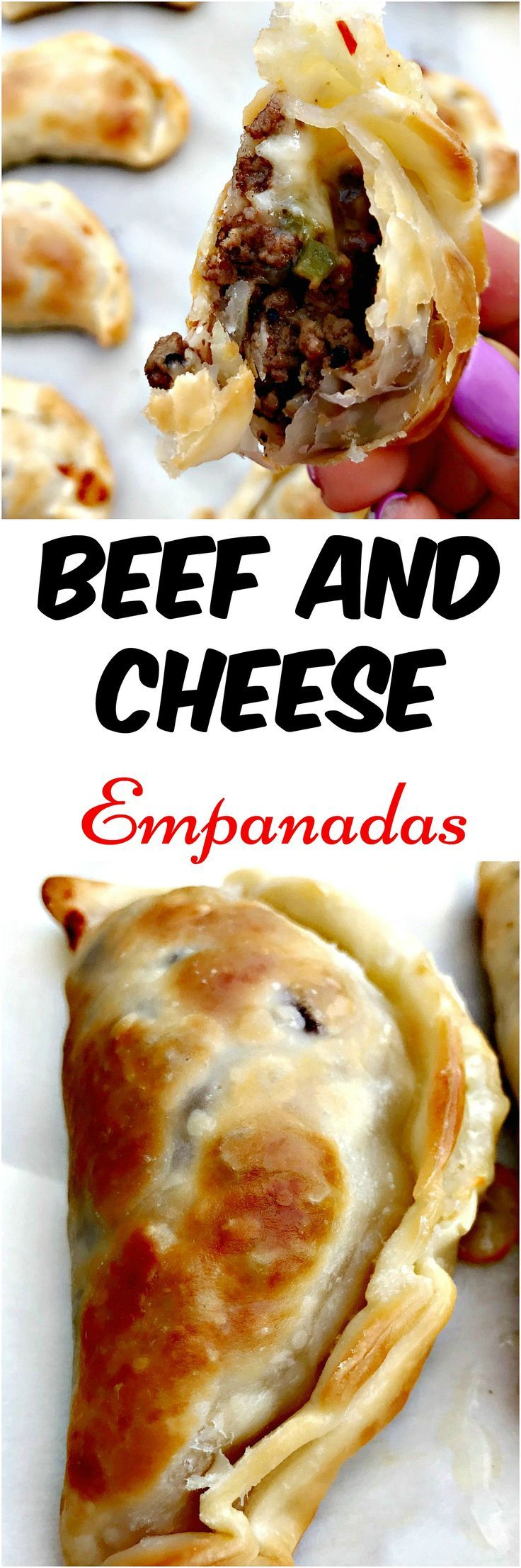 Beef and Cheese Empanadas are the perfect skinny, healthy appetizer loaded with ground beef and gooey mozzarella and pepperjack cheese.