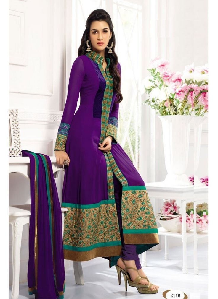 StyleFunia Exclusive Purple Embroidered Long Anarkali Suit