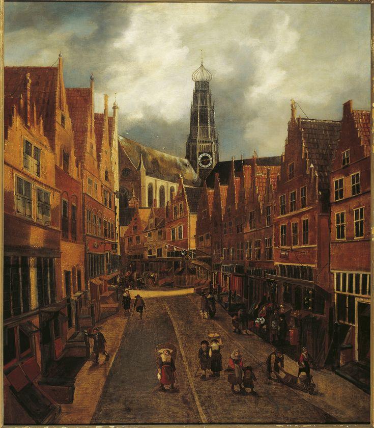 Nicolaes Hals, De Grote Houtstraat te Haarlem gezien van de Peuzelaarsteeg naar de Anegang, 1655-1660.