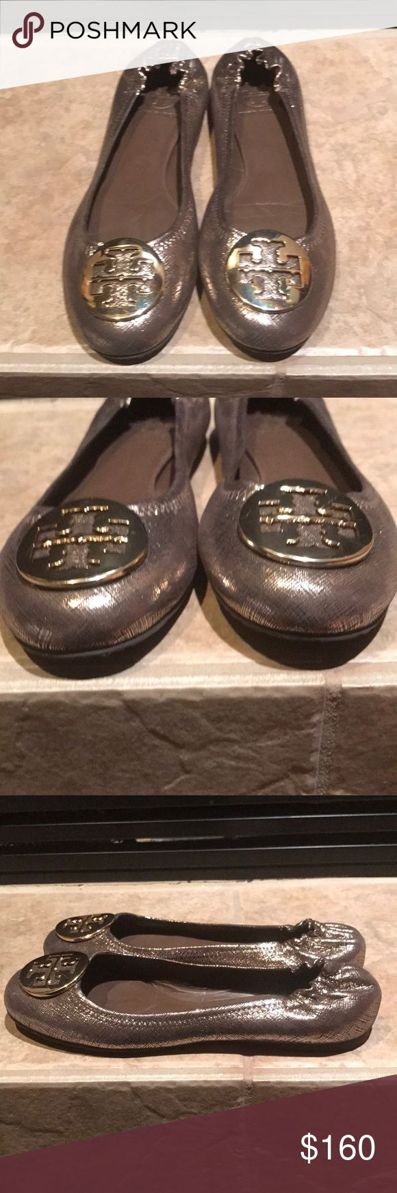 Tory Burch Reva Metallic Flats Excellent condition just like new floor  model price tag residue on