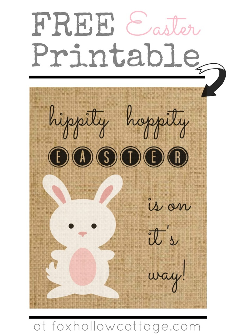 Burlap Bunny Easter Art Free Printable. #easter #art #printable @Shannon Fox {Fox Hollow Cottage}