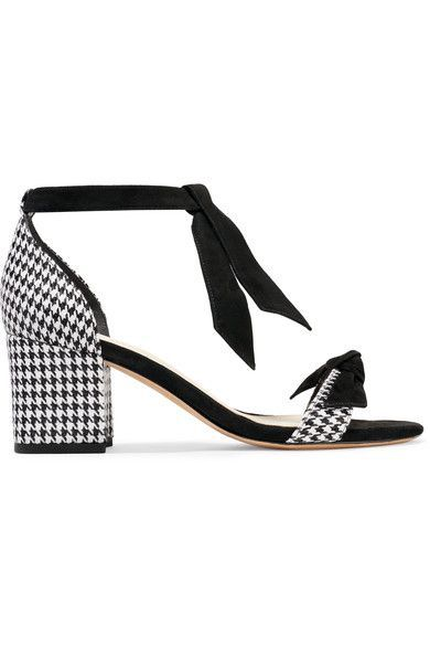 Alexandre Birman - Clarita Suede-trimmed Houndstooth Canvas Sandals - Black - IT35.5