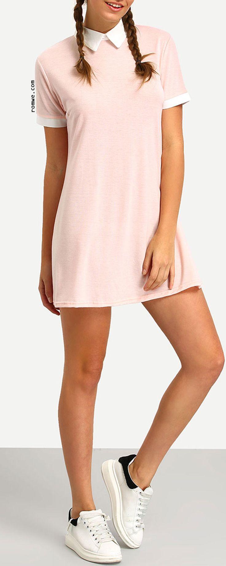 Pink Contrast Collar Shirt Dress