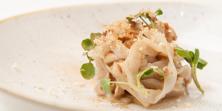 Paul Foster's squid tagliatelle recipe combines the delicacy and sweetness of squid with the earthy flavours of ceps (also known as porcini mushrooms) and king oyster mushrooms. Cooking the squid sous vide, then cutting into tagliatelle strips, results in a wonderfully tender finish.