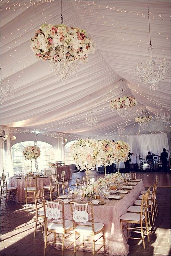 fancy tent wedding with flower chandelier decor ideas