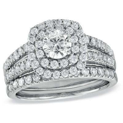 1-1/2 CT. T.W. Diamond Double Frame Bridal Set in 14K White Gold - Zales