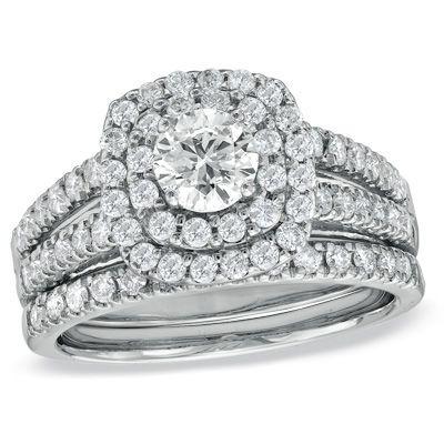 1-1/2 CT. T.W. Diamond Double Frame Bridal Set in 14K White Gold