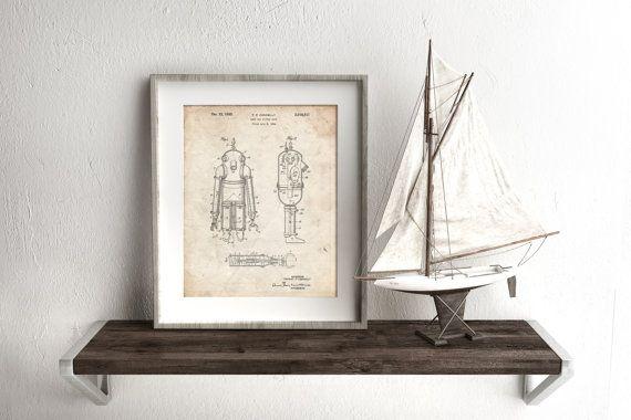 Deep Sea Diving Suit Patent Poster, Vintage Nautical, SCUBA Diving, Underwater Art, PP0479