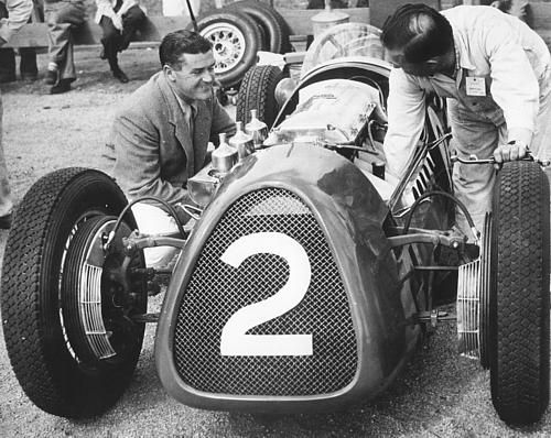 Stanley Jones (1923-1973) Australian racing driver; won the New Zealand Grand Prix (1954); Australian Drivers' Champion (1958); Australian Grand Prix in a 250F Maserati (1959); father of Alan Jones, World Drivers' Champion (1980). pictured with mechanic Charlie Dean and his Maybach 2