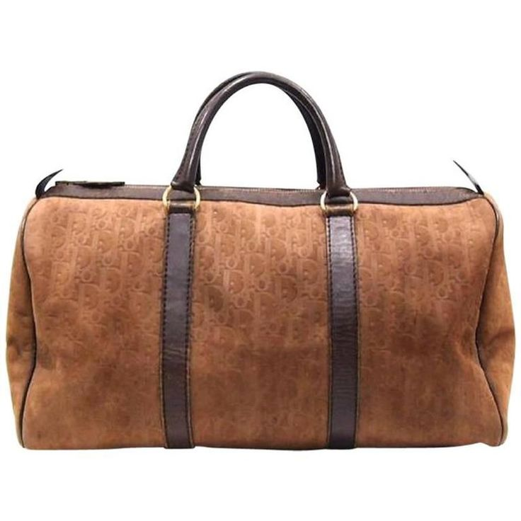 Vintage Christian Dior Bagages genuine brown suede leather travel duffle bag, 1980
