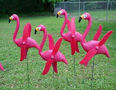 Perfect 6 TWIRLING PINK FLAMINGO YARD STAKES FLOCKING Lawn Ornaments Decorations