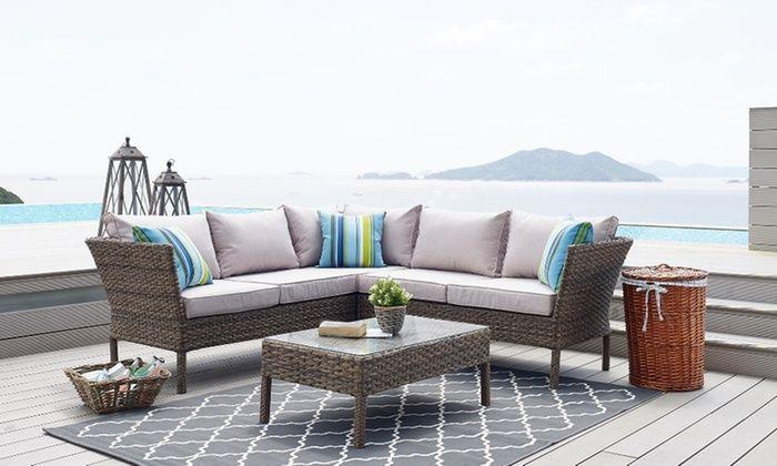 Four Piece Rattan Effect Sofa Set Outdoor Furniture Sofa Outdoor Furniture Sofa Set