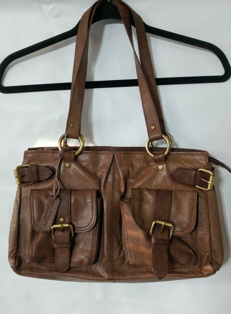 5th Avenue Real Leather Shoulder Bag Messenger Vintage Style Medium Brown #5thAvenue #ShoulderBag