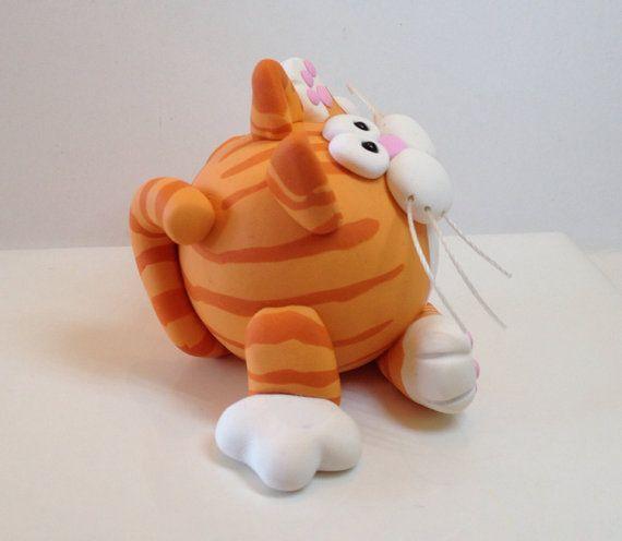 Arcilla del polímero Red Tabby Cat Figurine por handmademom en Etsy