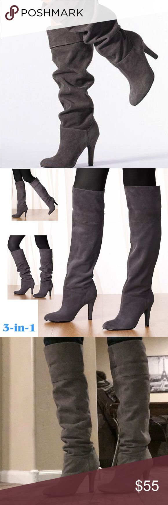 🎉HOST PICK FASHION ICON 🎉👑Colin Stuart Boots Gray sexy Suede over the knee boots by Colin Stuart. 3 different ways to wear these boots. Colin Stuart Shoes Over the Knee Boots