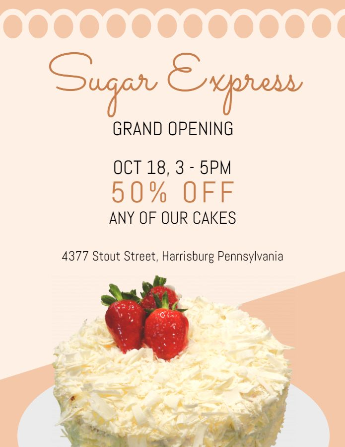 bakery small business grand opening sale flyer poster template