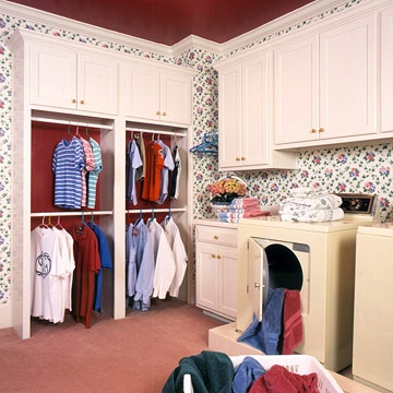 A Laundry Pick-Up Center: Laundry Pick, Center Ideas, Addition Ideas, Closet Rod, Open Closet, Room Ideas, Laundry Rooms, Room Design, Laundryroom Closet