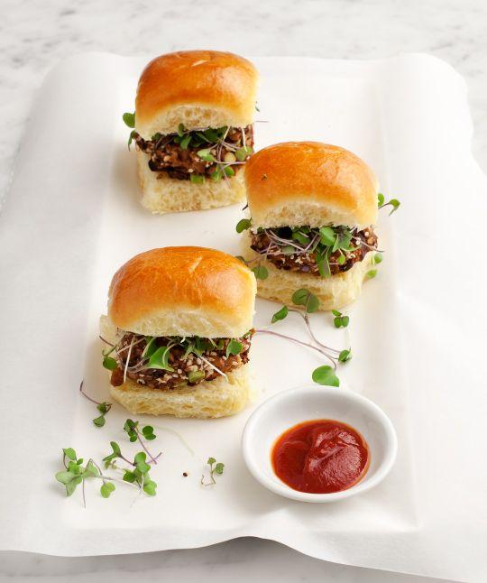 walnut-mushroom veggie burgers Yield: makes about 6 mini-sliders (serves 2 people)  #walnut #veggie #burger   Ingredients  1/4 cup walnuts, toasted 1 tsp. miso paste...