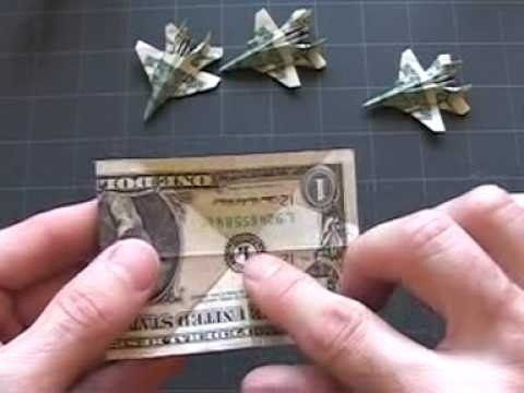 "A ""paper"" airplane origami jet plane! Great idea for Father's Day! Hint: You could use Monopoly money if you don't have real money to use. :)"