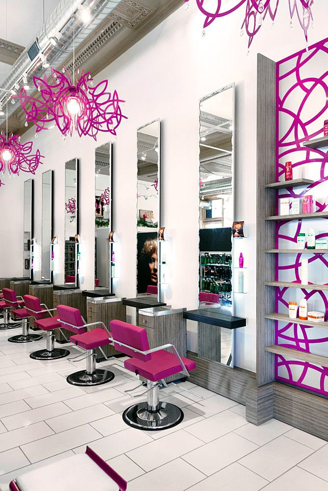 I Love The Accented Hot Purple/pink Color.Home Hair Salons Designs Idea