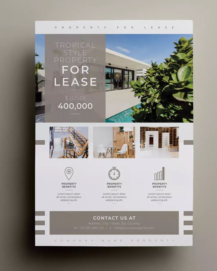 Properties Flyer Template InDesign INDD –  A4 Paper Size – 300 DPI Resolution. D…  – Flyers