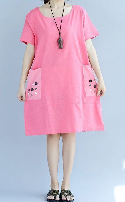 New women loose fit over plus size pink button pocket dress tunic fashion chic #unbranded #Maxi #Casual