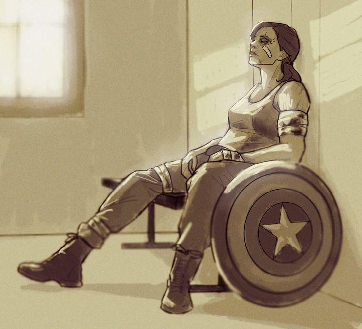 """""Take five, Cap."" Peggy!Cap takes a rest fanart by romans-art"