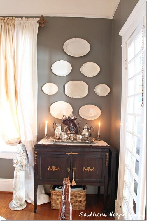 91 best decorating with plates images on pinterest for What to hang on dining room walls