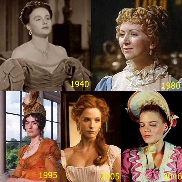 Pride and Prejudice - Miss Caroline Bingley : - Frieda Inescort (1940); - Marsha Fitzalan(1980); -Anna Chancellor (1995); -Kelly Reilly(2005); -Emma Greenwell(2016)