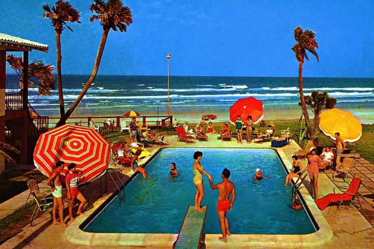 *** Love Old Florida***  Summertime, Poolside!  Rio Beach Motel,  Daytona Beach, Florida 1960s