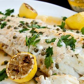Baked+fish+with+lemon+butter+and+capers