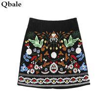 Qbale vintage bordado falda de las mujeres 2017 del otoño del resorte de moda una línea de cintura alta faldas mujer pana falda corta(China (Mainland))