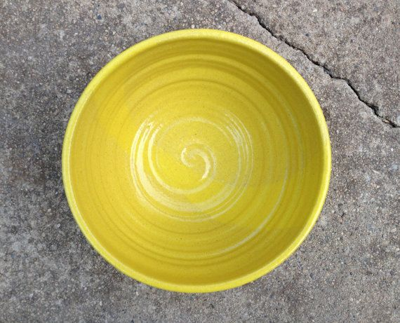 Yellow Ceramic Bowl Stoneware Bowl Yellow Pottery by jclayPottery