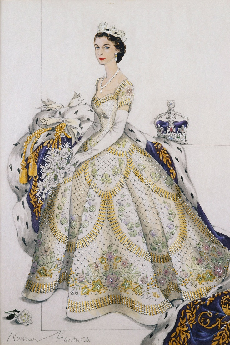 Sketch of the Queen on her coronation day by couturier Norman Hartnell, 1953